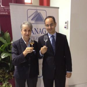 Paola Soldi, presidente Anag e Elvio Bonollo, presidente Istituto Nazionale Grappa
